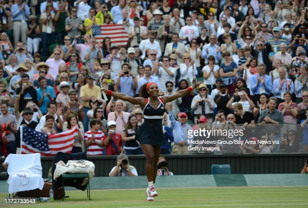 USA's Serena Williams celebrates her 60 61 win against Russia's Maria Sharapova for the Women's Singles Tennis gold medal match at Wimbledon Centre...