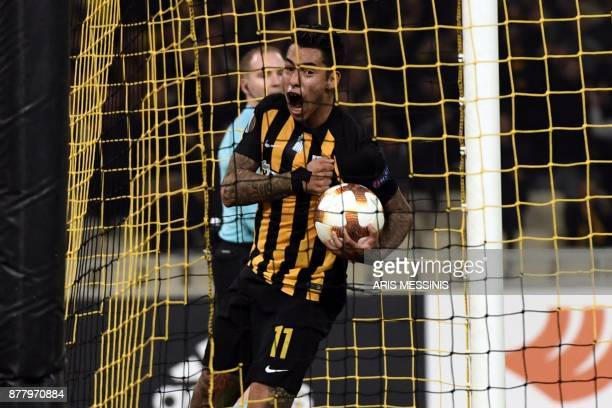 AEK's Sergio Araujo celebrates after scoring a goal during the UEFA Europa League Group D football match between AEK Athens and Rijeka at The OAKA...