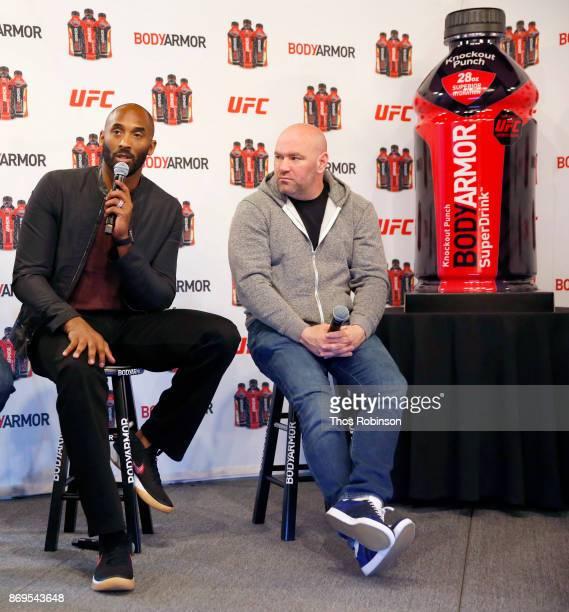 BODYARMOR's Shareholder Kobe Bryant and UFC President Dana White speak onstage during a new partnership announcement by Kobe Bryant and BODYARMOR...