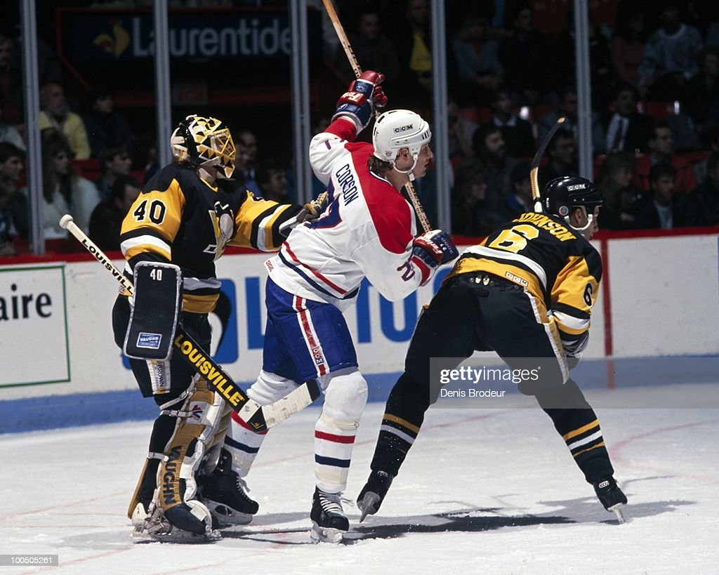 MONTREAL - 1980's: Shayne Corson #27 of the Montreal Canadiens skates against the Pittsburgh Penguins in the late 1980's at the Montreal Forum in Montreal, Quebec, Canada.
