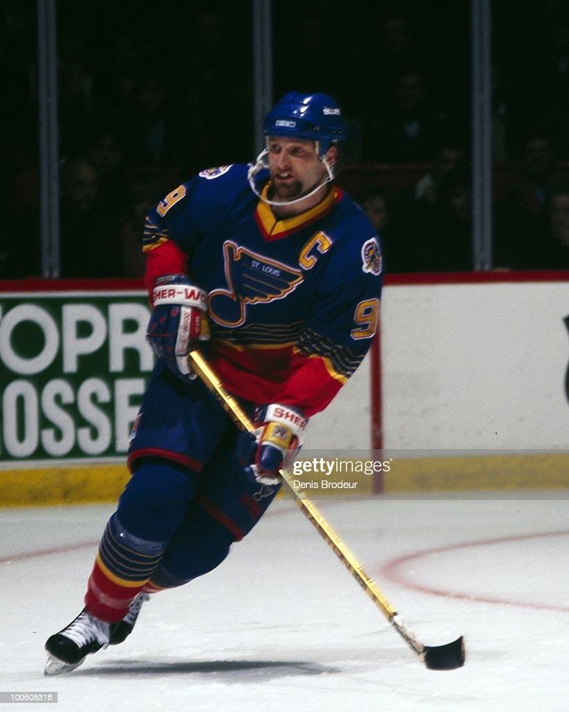 MONTREAL - 1990's: Shayne Corson #9 of the St. Louis Blues skates against the Montreal Canadiens in the mid-1990's at the Montreal Forum in Montreal, Quebec, Canada.