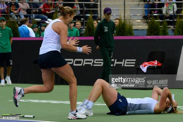 USA's Shelby Rogers and Coco Vandeweghe celebrate their victory over Belarus' Aliaksandra Sasnovich and Aryna Sabalenka at the end of their match aas...