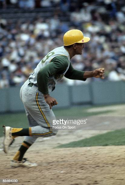 Short Stop Bert Campaneris of the Oakland Athletics races out of the batters box after putting the ball in play during a circa late 1960's Major...