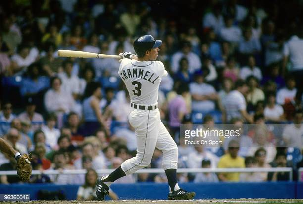 DETROIT MI CIRCA 1980's Shortstop Alan Trammell of the Detroit Tigers swings and watches the flight of his ball during a circa late 1980's Major...