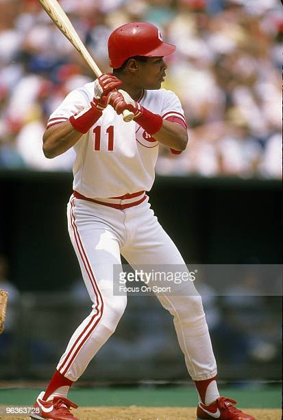 CINCINNATI OH CIRCA 1980's Shortstop Barry Larkin of the Cincinnati Reds in action at the plate waiting on the pitch during a MLB baseball game circa...