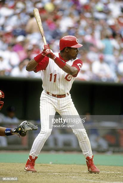 CINCINNATI OH CIRCA 1990's Shortstop Barry Larkin of the Cincinnati Reds in action at the plate waiting on the pitch during a MLB baseball game circa...