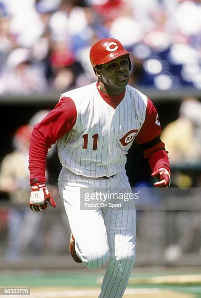 CINCINNATI OH CIRCA 1990's Shortstop Barry Larkin of the Cincinnati Reds in action hustling up the first baseline during a MLB baseball game circa...