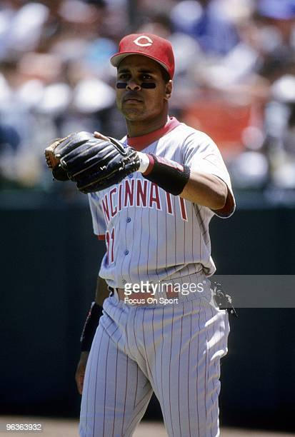 SAN FRANCISCO CA CIRCA 1990's Shortstop Barry Larkin of the Cincinnati Reds warming up prior to the start of a MLB baseball game against the San...