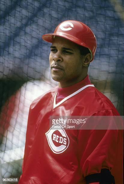 CIRCA 1990's Shortstop Barry Larkin of the Cincinnati Reds watching batting practice priors to the start of a MLB baseball game circa 1990's Larkin...