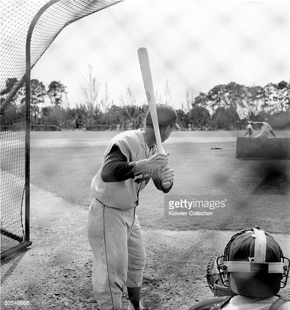 BEACH FL 1950's Shortstop Pee Wee Reese of the Brooklyn Dodgers takes batting practice during Spring Training circa 1950's at Vero Beach Florida...