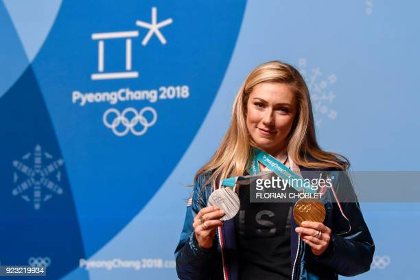 USA's silver and gold medallist Mikaela Shiffrin holds a press conference during the Pyeongchang 2018 Winter Olympic Games on February 23 2018 in...