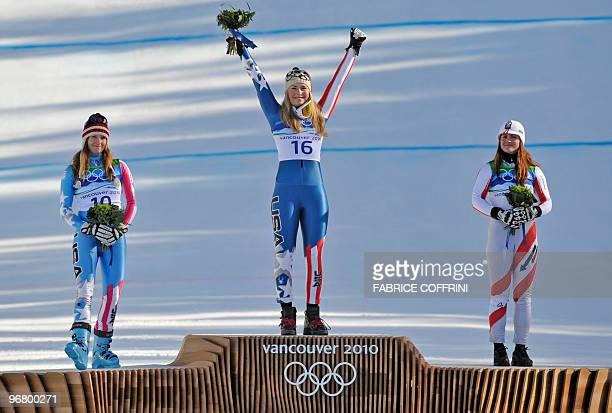 USA's silver medallist Julia Mancuso USA's gold medallist Lindsey Vonn and Austria's bronze medallis Elisabeth Goergl stand on the podium after the...