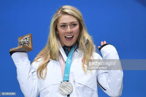 USA's silver medallist Mikaela Shiffrin poses on the podium during the medal ceremony for the alpine skiing women's combined at the Pyeongchang...