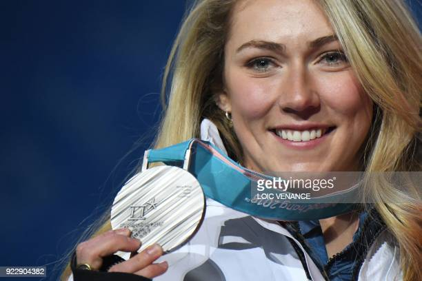 TOPSHOT USA's silver medallist Mikaela Shiffrin poses on the podium during the medal ceremony for the alpine skiing women's combined at the...