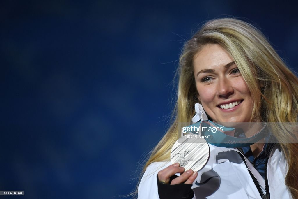 USA's silver medallist Mikaela Shiffrin poses on the podium during the medal ceremony for the alpine skiing women's combined at the Pyeongchang Medals Plaza during the Pyeongchang 2018 Winter Olympic Games in Pyeongchang on February 22, 2018. /