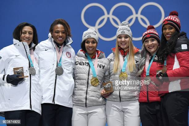 USA's silver medallists Elena Meyers Taylor and Lauren Gibbs Germany's gold medallists Lisa Buckwitz and Mariama Jamanka and Canada's bronze...