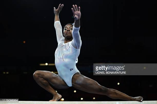 USA's Simone Biles performs on the balance beam during the women's allaround final at the FIG Artistic Gymnastics World Championships at the...