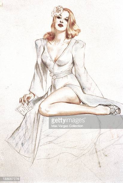 CIRCA 1940's Sketch for Pinup art by Alberto Vargas for Esquire Magazine circa 1940's