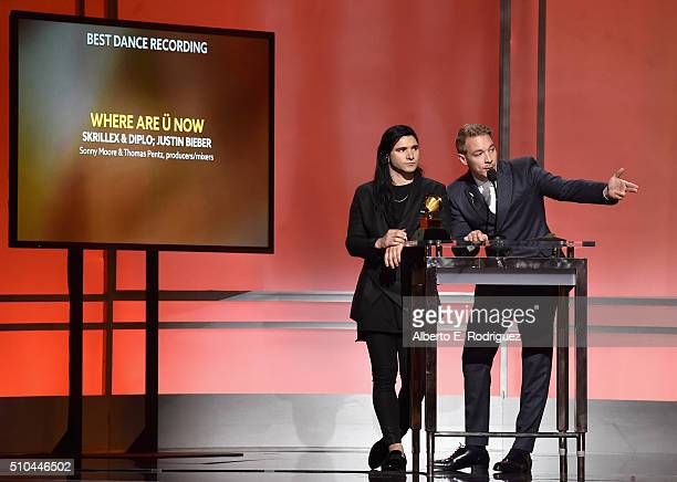 DJ's Skrillex and Diplo accept award for Best Dance Recording for 'Where Are U Now' onstage during the GRAMMY PreTelecast at The 58th GRAMMY Awards...
