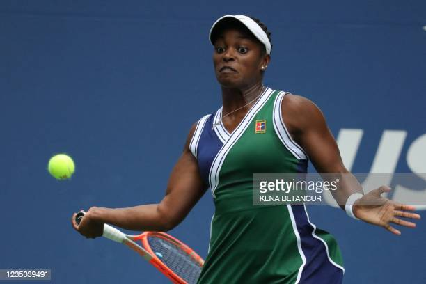 S Sloane Stephens serves to Germany's Angelique Kerber during their 2021 US Open Tennis tournament women's singles third round match at the USTA...