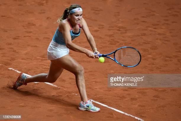 S Sofia Kenin returns the ball to Estonia's Anett Kontaveit during their singles match on day 3 of the Women's Tennis Grand Prix WTA 500 tournament...