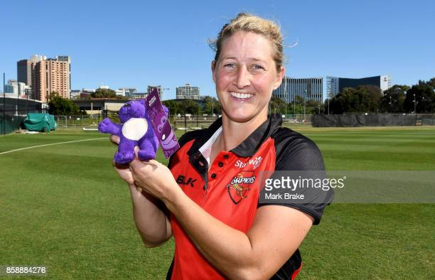 SA's Sophie Devine with the man of the match bear during the WNCL match between South Australia and Tasmania at Adelaide Oval No2 on October 8 2017...
