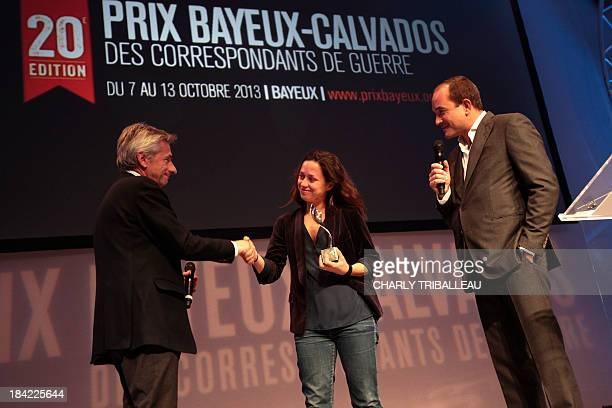 S Sophie Nivelle-Cardinale receives Television Trophy during the annual Bayeux-Calvados award for war correspondant's prizes ceremony on October 12,...