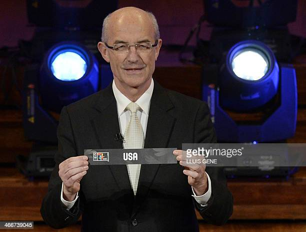 FIBA's Sport Director Lubomir Kotleba shows a result paper bearing the name of the US during the FIBA Basketball World Cup official draw for the 2014...