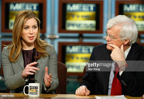 CNBC's Squawk Box coanchor Becky Quick speaks as Bloomberg News Executive Editor for Washington Al Hunt listens during a taping of Meet the Press at...