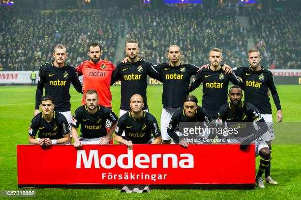AIK's starting eleven during an Allsvenskan match between AIK and GIF Sundsvall at Friends Arena on November 4 2018 in Stockholm Sweden