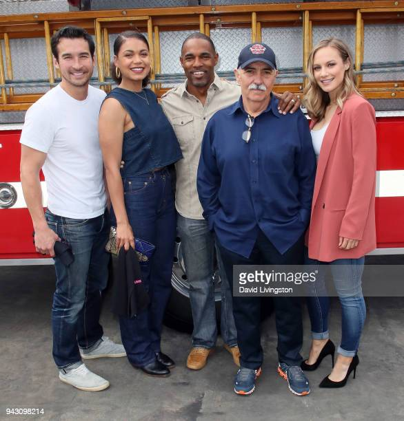 "S ""Station 19"" cast members Jay Hayden, Barrett Doss, Jason George, Miguel Sandoval and Danielle Savre visit LAFD Girls Camp on April 7, 2018 in..."