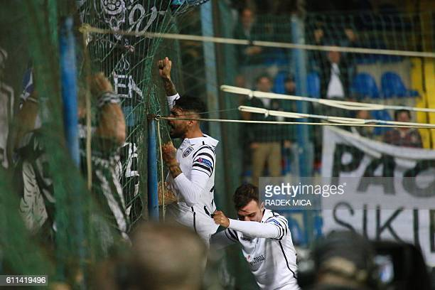 PAOK's Stefanos Athanasiadis celebrate scoring the 21 goal with fans during the UEFA Europa League firstleg football match between AC Sparta Prague...