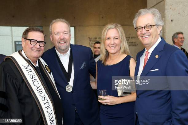 S Steve Turner, Don Schlitz, Stacey Schlitz and CMHOF's Kyle Young attend the 2019 Country Music Hall of Fame Medallion Ceremony at Country Music...