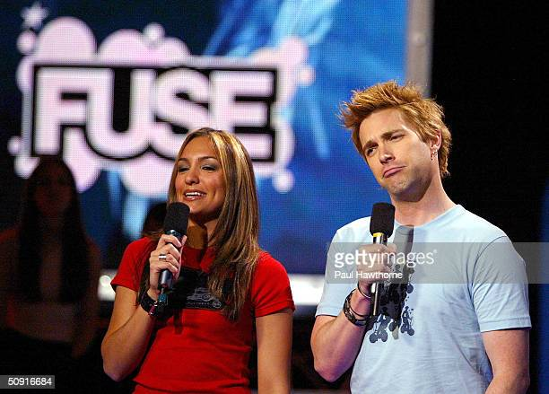 VJ's Steven and Marianela interview The Offspring live on Fuse TV in IMX studio June 1 2004 in New York City