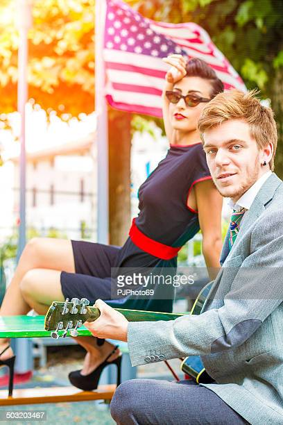1950's Style - American couple - Guitarist and Singer