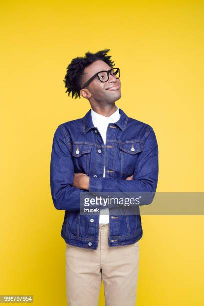 80's style portrait of happy geeky young man - colored background stock pictures, royalty-free photos & images