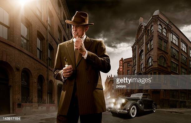 1940's stylised film noir gangster - detective stock pictures, royalty-free photos & images