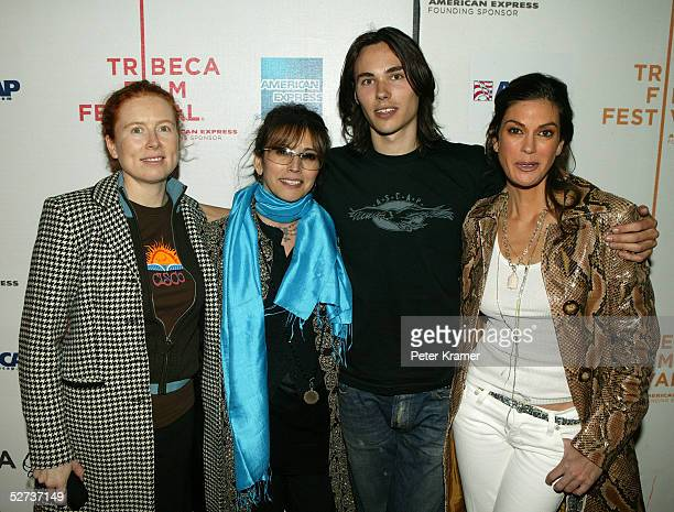 ASCAP's Sue Devine and Loretta Munoz pose with musician Ben Jelen and actress Teri Hatcher at The ASCAP Music Lounge at the Tribeca Film Festival...