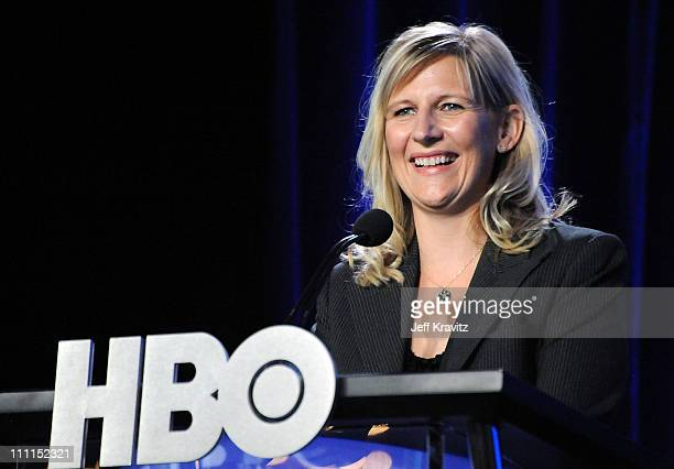 S Sue Nagel speaks during the HBO portion of the 2010 Television Critics Association Press Tour at the Langham Hotel on January 14, 2010 in Pasadena,...