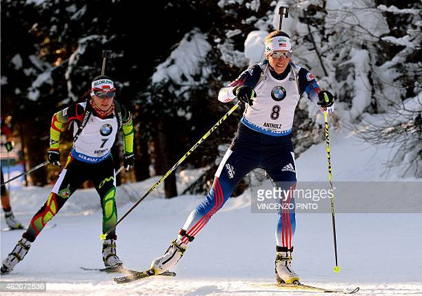 USA's Susan Dunklee competes during the Women's 10 km Pursuit race of the IBU Biathlon World Cup on January 24 2015 in the Italian Alpine resort of...