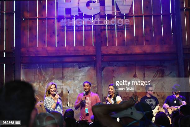 GAC's Suzanne Alexander DeRon Jenkins and Page Turner of Flip or Flop Nashville speak onstage in the HGTV Lodge at CMA Music Fest on June 7 2018 in...