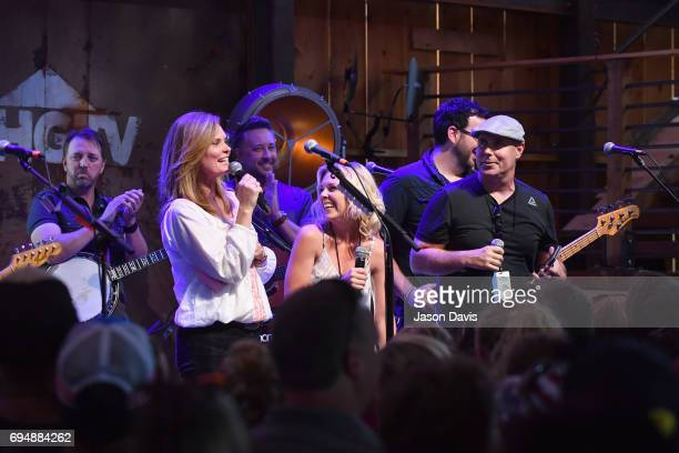 GAC's Suzanne Alexander Kortney Wilson and Dave Wilson of HGTV's Masters of Flip speak onstage at the HGTV Lodge during CMA Music Fest on June 11...