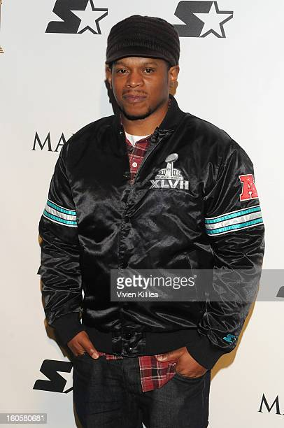 MTV's Sway Calloway poses on the Starter Red Carpet at the Maxim Party during Super Bowl XLVII at Second Line Warehouse on February 2 2013 in New...