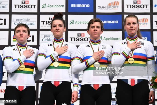 USA's team members Kelly Catlin Chloe Dygert Kimberly Geist and Jennifer Valente pose on the podium after winning the women's pursuit final during...