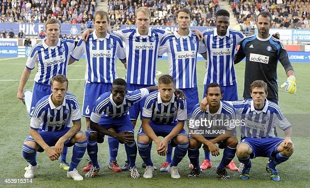S team players pose for the team photo prior to the first leg of the UEFA Europa League play-off football match at the Sonera Stadium in Helsinki,...