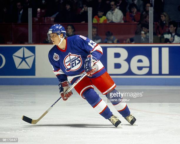 MONTREAL 1990's Teemu Selanne of the Winnipeg Jets skates against the Montreal Canadiens in the early 1990's at the Montreal Forum in Montreal Quebec...