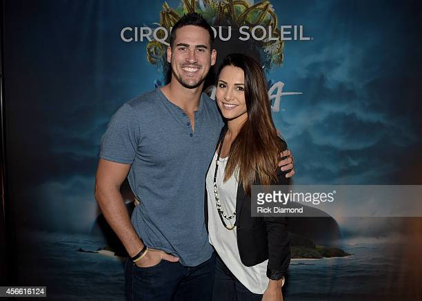 ABC's The Bachelorette Andi Dorfman and fiancee Josh Murray attend Amaluna opening night at the Big Top at Atlantic Station on October 3 2014 in...