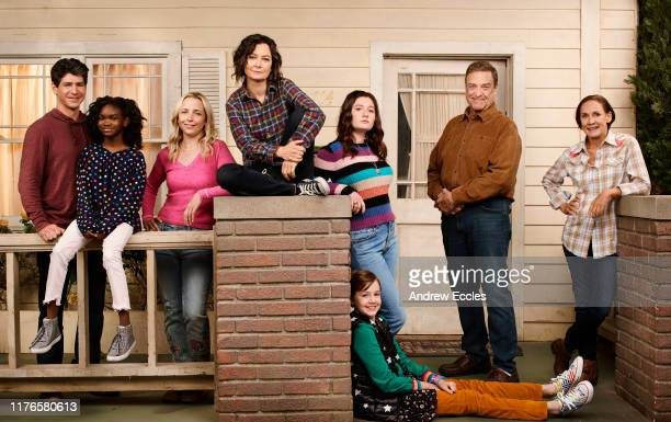 """S """"The Conners"""" stars Michael Fishman as D.J. Conner, Jayden Rey as Mary Conner, Lecy Goranson as Becky Conner-Healy, Sara Gilbert as Darlene Conner,..."""