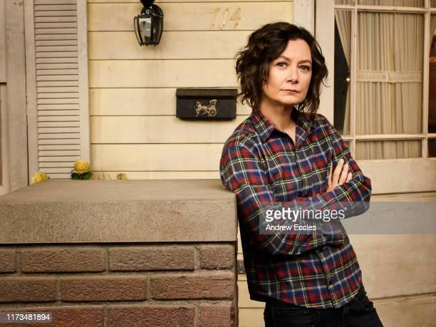 "S ""The Conners"" stars Sara Gilbert as Darlene Conner."