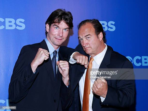 CBS's The Defenders actors Jerry O'Connell and Jim Belushi attend the 2010 CBS UpFront at Damrosch Park Lincoln Center on May 19 2010 in New York City